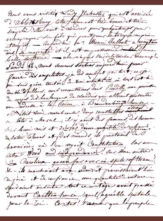 Facsimile of a page from Amélina's journal regarding Fox Talbot turning 21 years of age